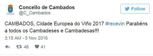 Cambados Ciudad del Vino en Europa 2017